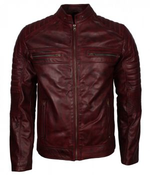 Maroon Biker Leather jacket