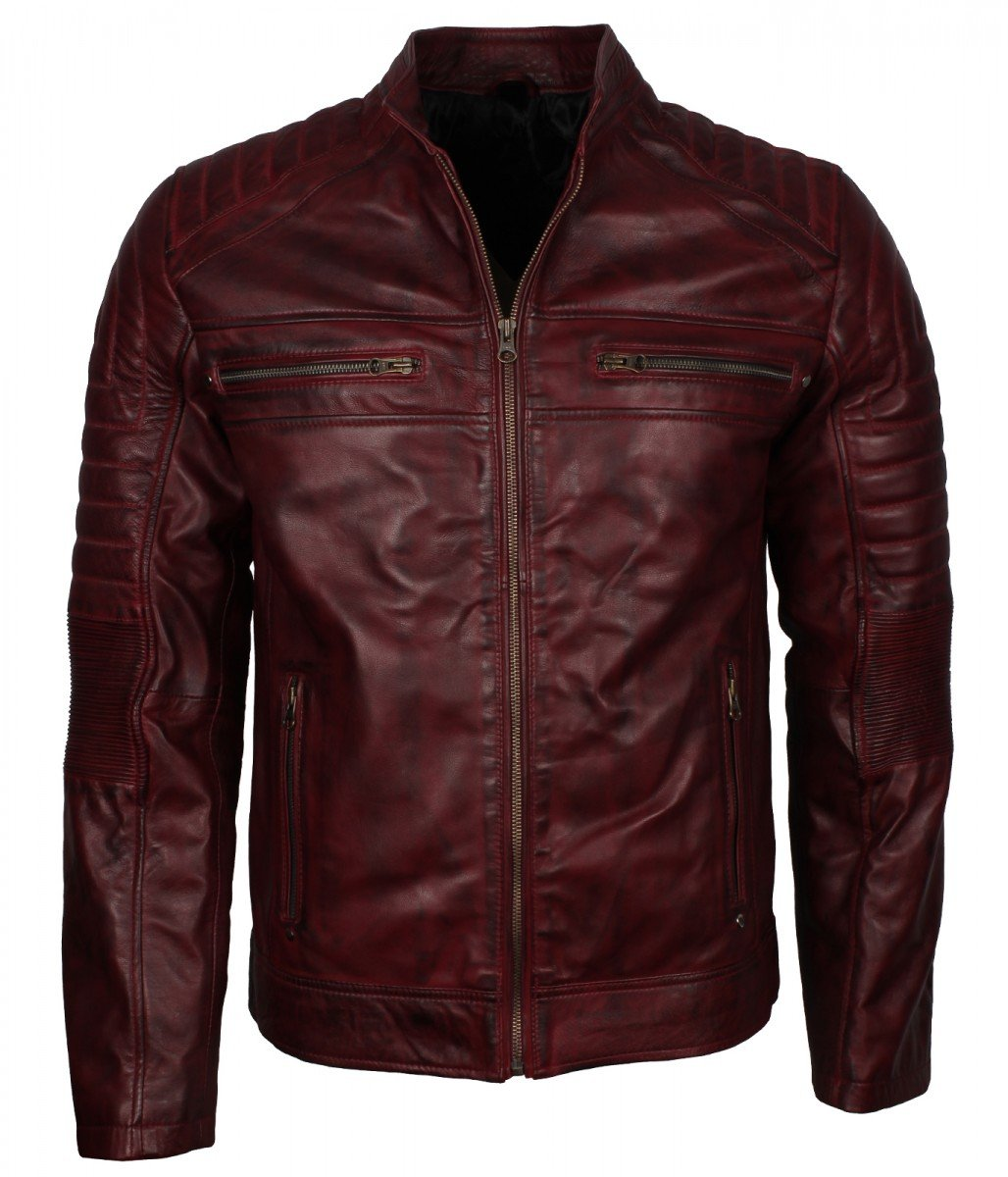 Waxed Genuine Sheepskin Leather Maroon Cafe Racer Biker Motorcycle Jacket