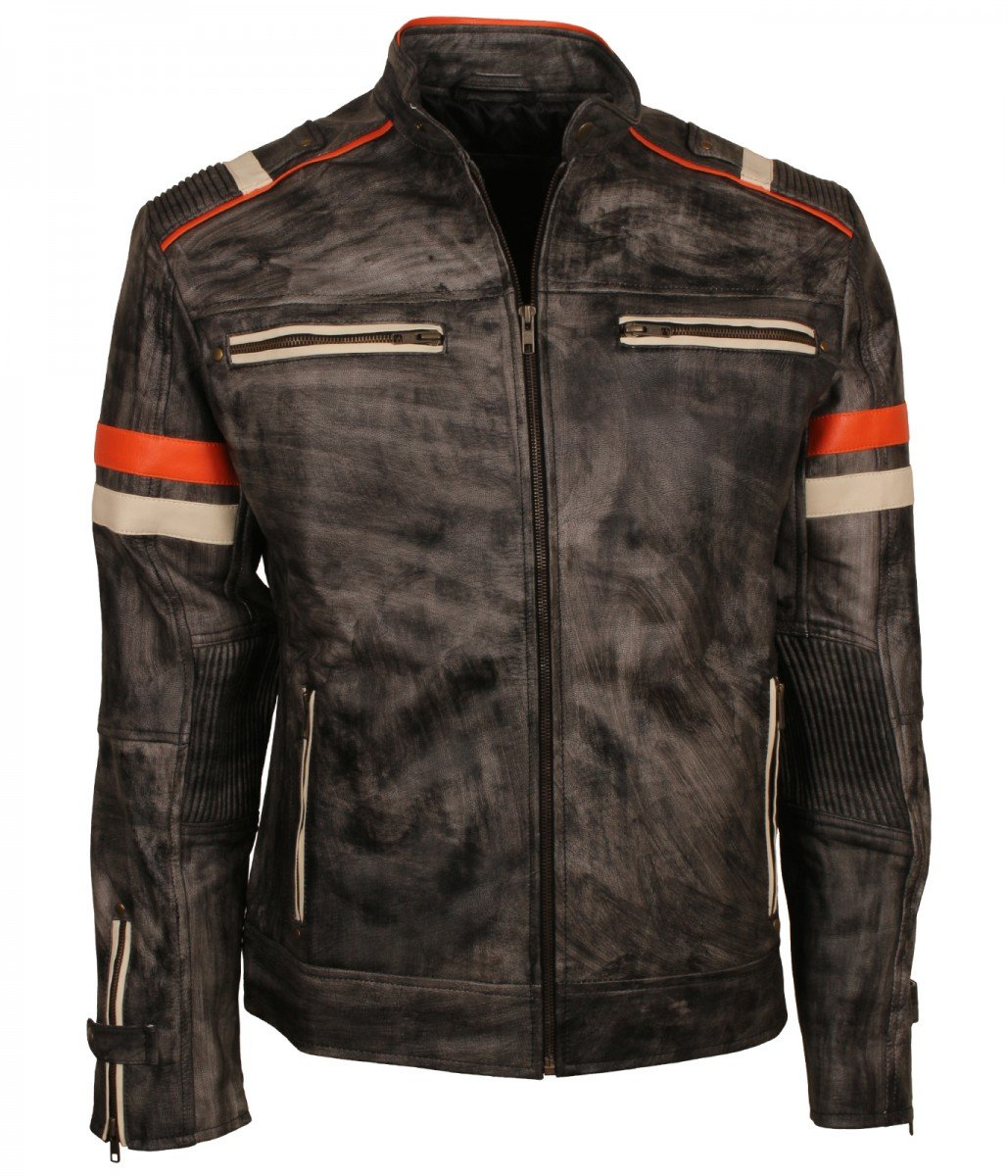 Men/'s Motorcycle Distressed Black /& Brown Biker Real Leather Retro Style Jackets