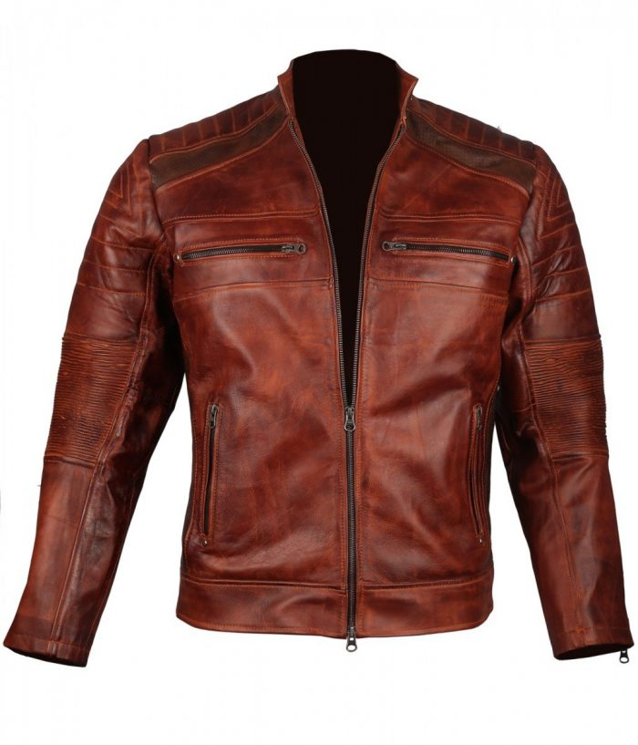 Mens Vintage Cafe Racer Biker Genuine Leather Jacket Sale