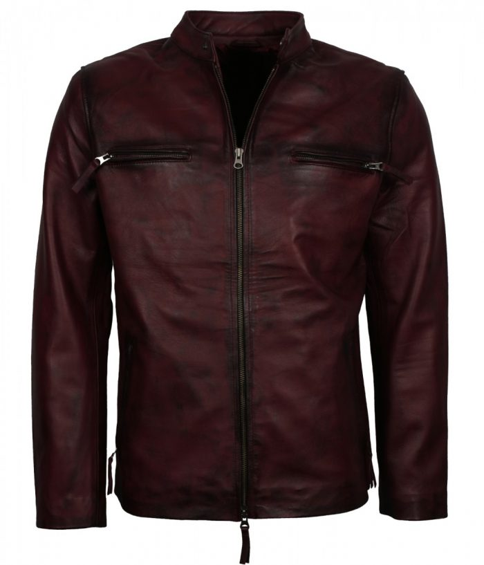 Retro Maroon Biker jacket