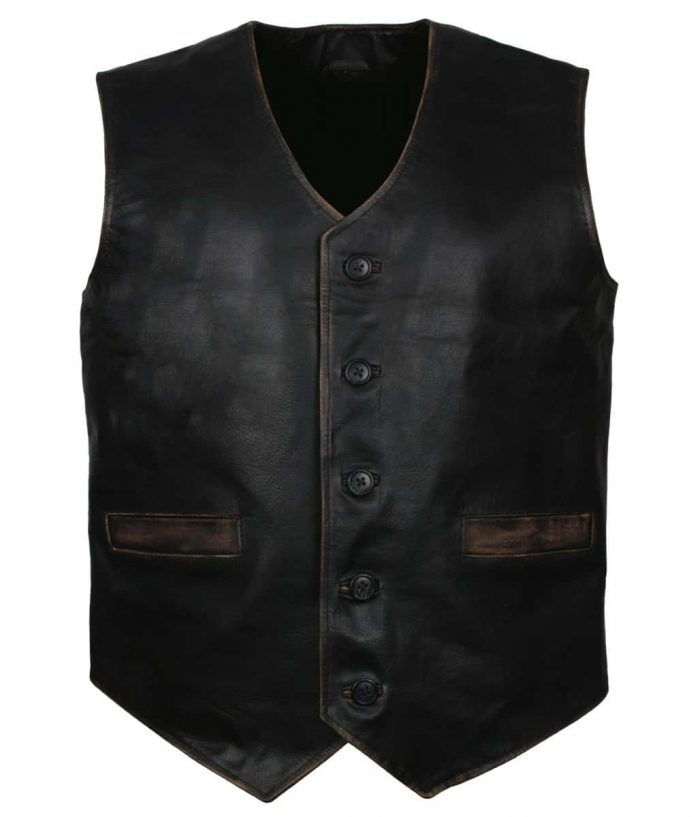 Skull Embossed Leather Vest