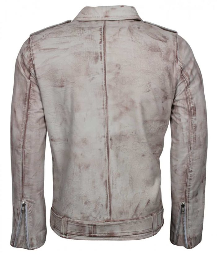 Iconic White Waxed Vintage Biker Jacket