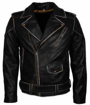 Distress Quilted Black Mens Leather Jacket