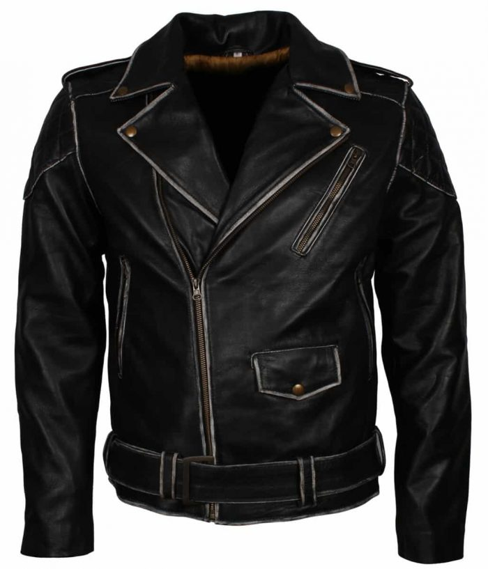 Black Mens Distressed Biker Leather Jacket