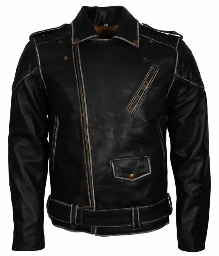 Distressed Black Motorcycle Leather Jacket Sale