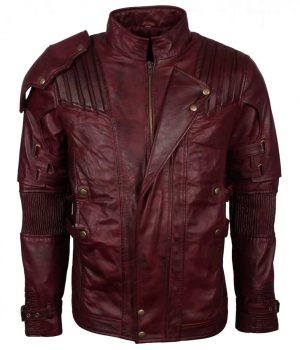 Star Lord Maroon Genuine Leather Jacket Sale