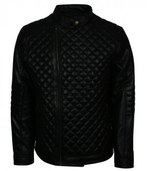 Diamond Quilted Black Real Leather Jacket