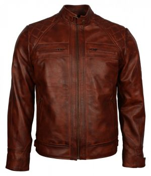 Mens Crocodile Brown Biker Leather Jacket