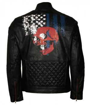 American Skull Man Black Motorcycle Leather Jacket