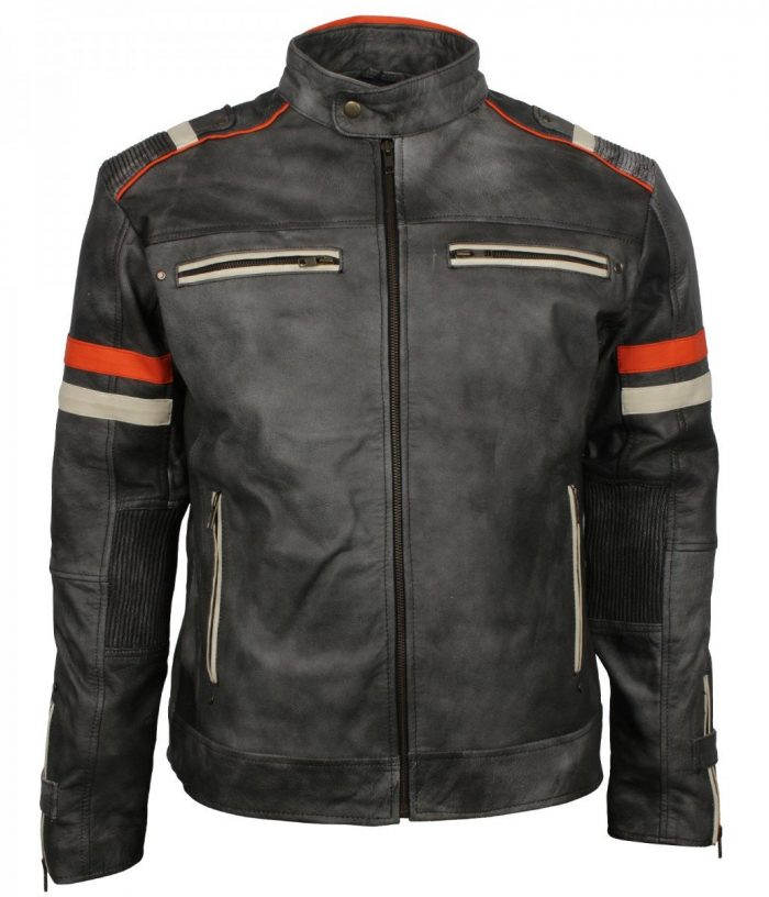 Vintage Retro Men Grey Tough Motorcycle Leather Jacket
