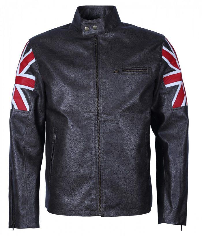 UK Flag Cafe Racer Men Black Faux Leather Jacke
