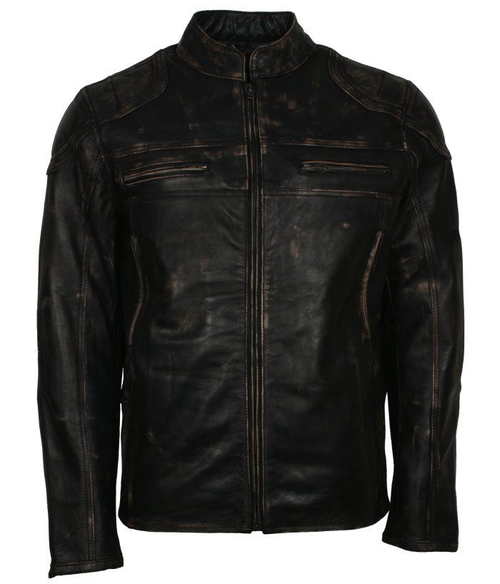 Mens-Distressed-Black-Quilted-Designer-Motorcycle-Black-Leather-Jacket