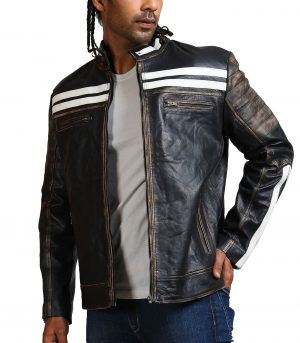 Designer Men Distressed Black Leather Jacket
