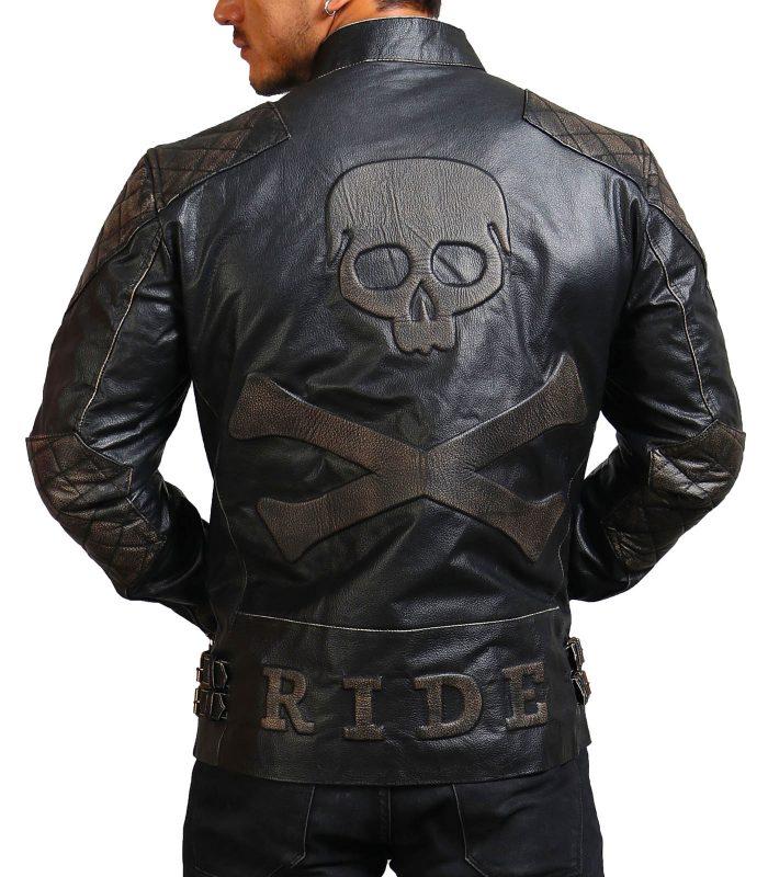 Men Cowhide Black Skull Motorcycle Leather Jacket