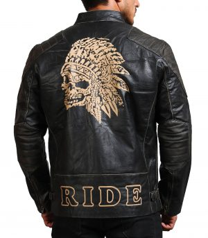 Men Indian Skull Black Leather Jacket