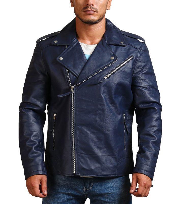 Navy Brando Biker Blue Leather Jacket