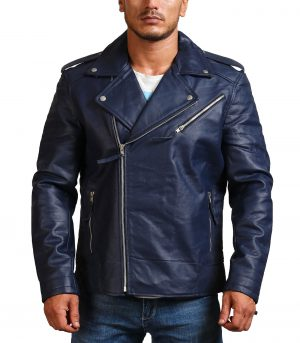Navy Brando Biker Blue Leather Jacket