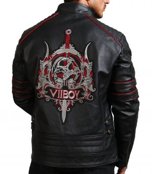 Sword Black Cowhide Leather Jacket