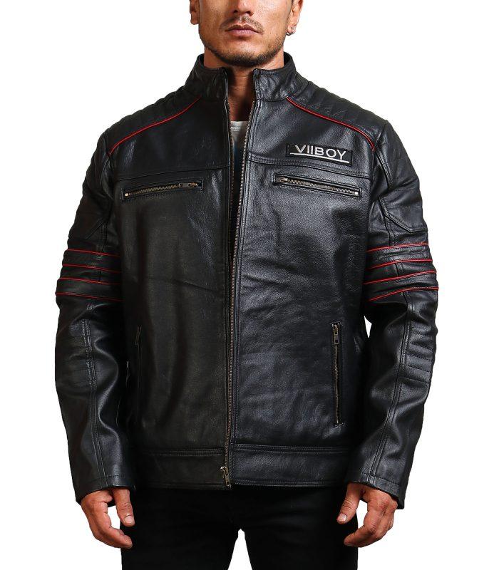 Sword Black Cowhide Leather Jacket