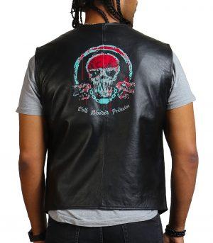 Blood Skull Printed Men Black Leather Vest