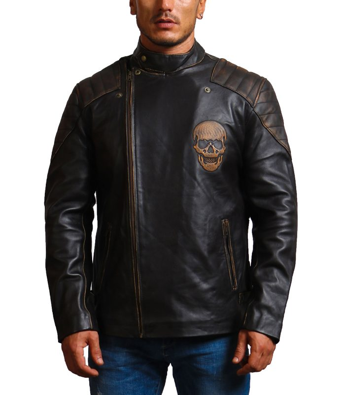 Ride Skull Motorcycle Cowhide Leather Jacket For Sale
