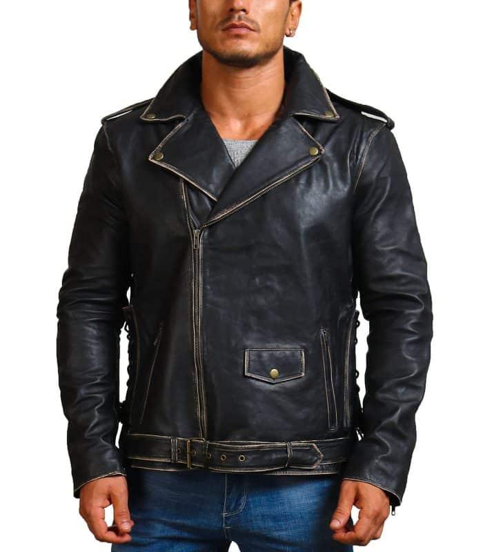 Sword Skull Black Brando Distressed Jacket