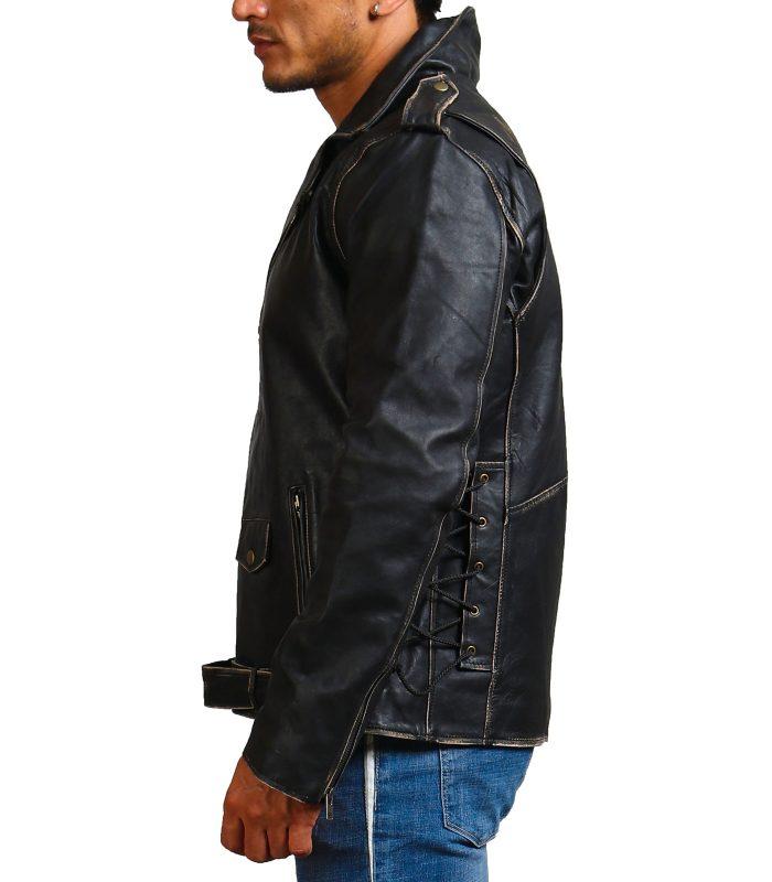 Sword Skull Black Brando Distressed Jacket Sale USA