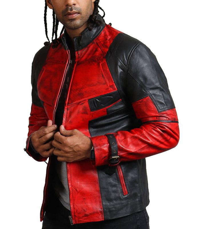 DP Men Red Blood Waxed Leather Jacket USA Leather