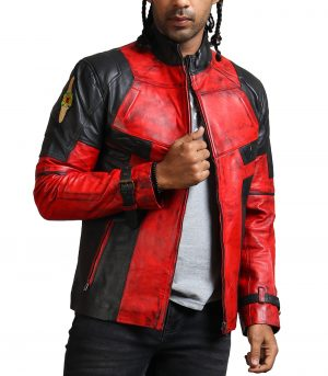 DP Men Red Blood Waxed Leather Jacket