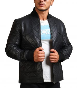 David Beckham Quilted Black Leather Jacket