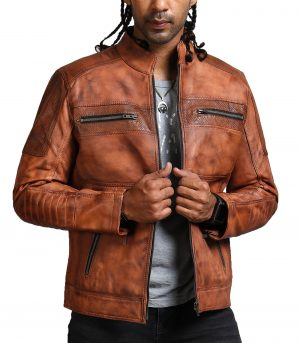 Designer Cafe Racer Vintage Brown Leather Jacket