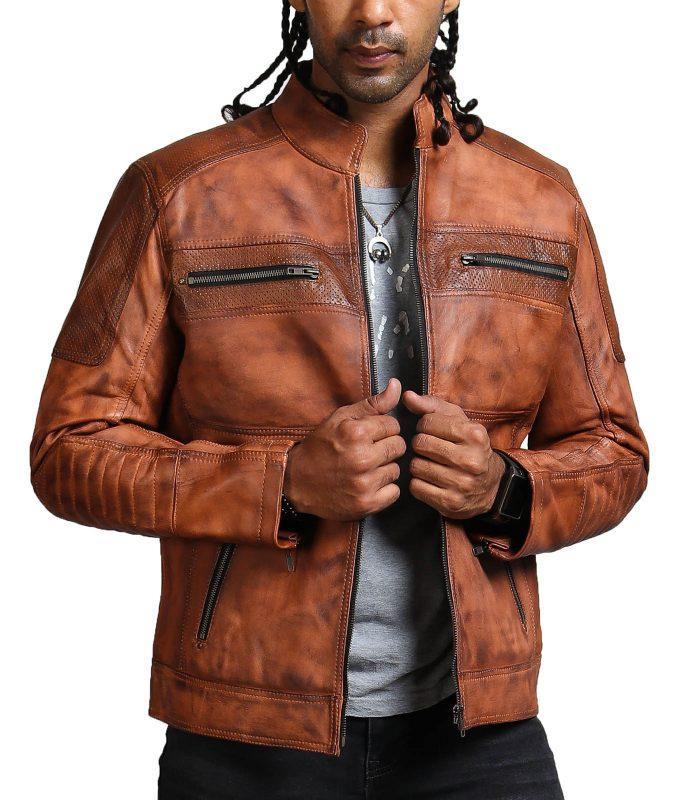 Designer Cafe Racer Vintage Brown Leather Jacket