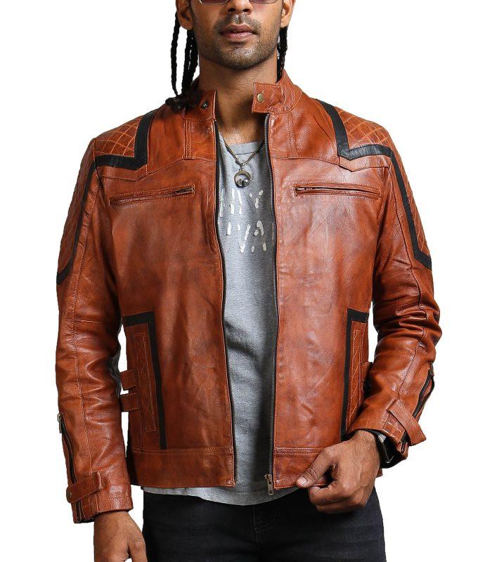 Designer Men Brown Waxed Leather Jacket