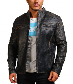 Distressed Men Black Motorcycle Leather Jacket