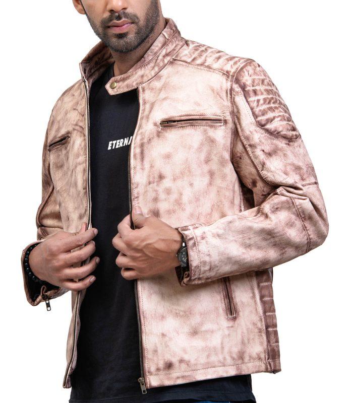 White Waxed Vintage Cafe Racer Leather Jacket USA