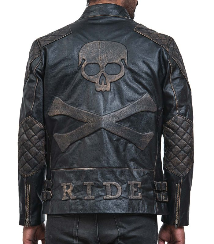 Skull Leather Distressed Cowhide Motorcycle Jacket Sale USA Online