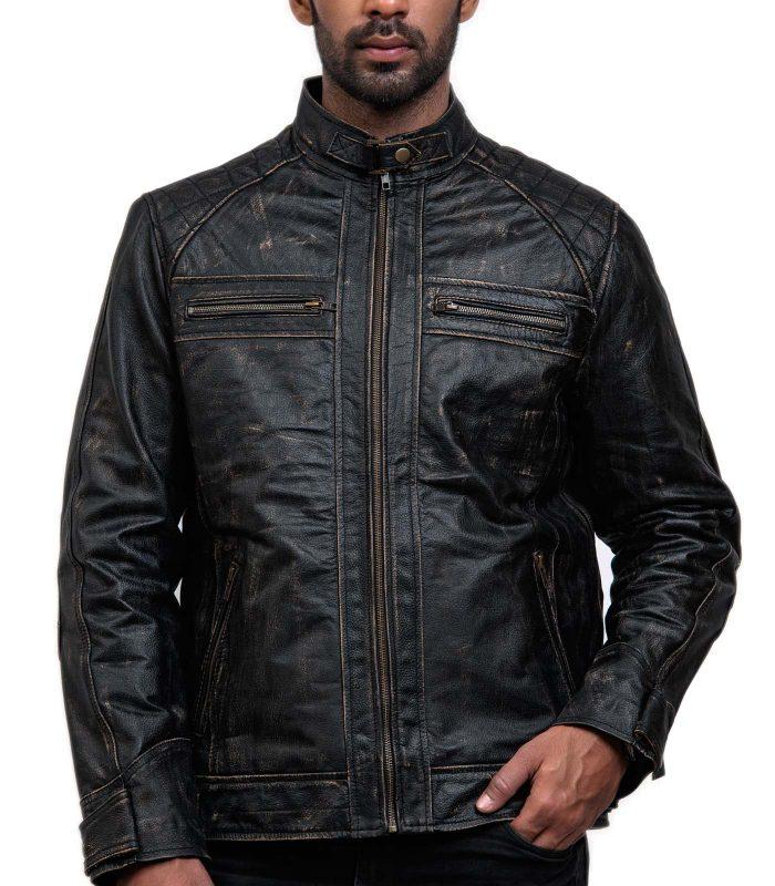 Men Distressed Black Leather Biker Jacket Online