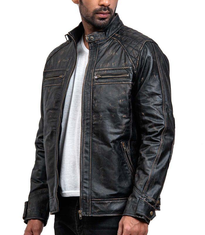 Men Distressed Black Leather Biker Jacket For Sale USA