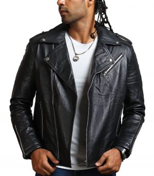Mens Black Boda Biker Leather Jacket