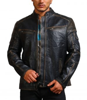 Moto Distressed Black Vintage Cowhide Leather Jacket
