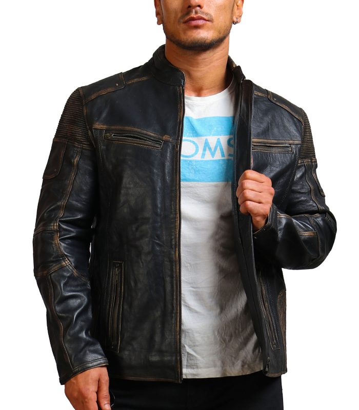Moto Distressed Black Vintage Cowhide Leather Jacket USA Leather Factory