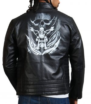 Riding Skeleton Boda Biker Leather Jacket
