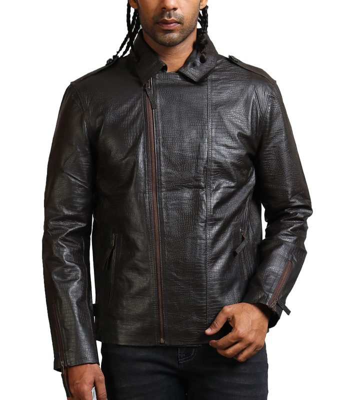Snake Embossed Men Black Leather Jacket