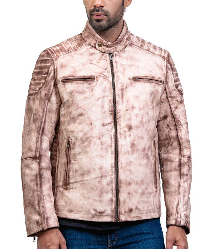 White Waxed Vintage Cafe Racer Leather Jacket