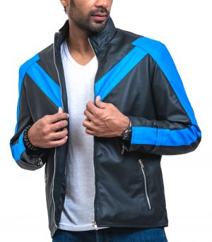 Black Night The Wing Mens Faux Leather Jacket