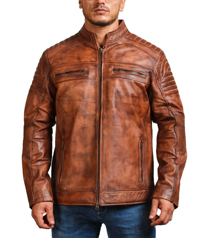 Cafe Racer Vintage Brown Cowhide Motorcycle Jacket