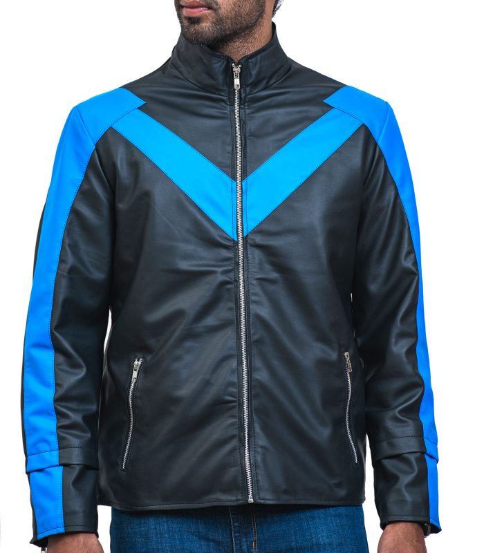Black Night The Wing Mens Faux Leather Jacket Sale