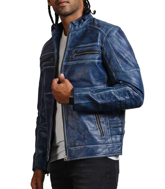 Blue Cafe Racer Jacket Sale