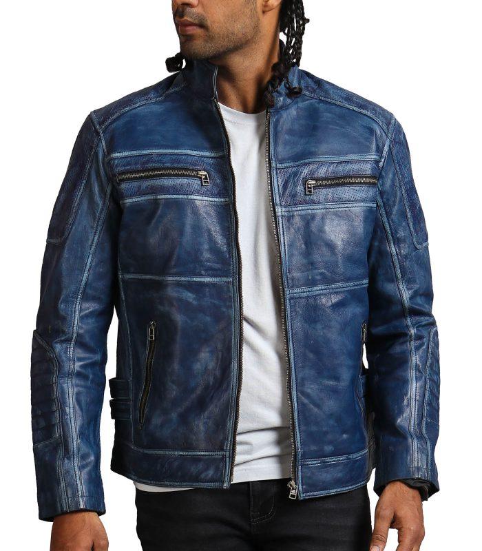 Mens Blue Cafe Racer Leather Jacket